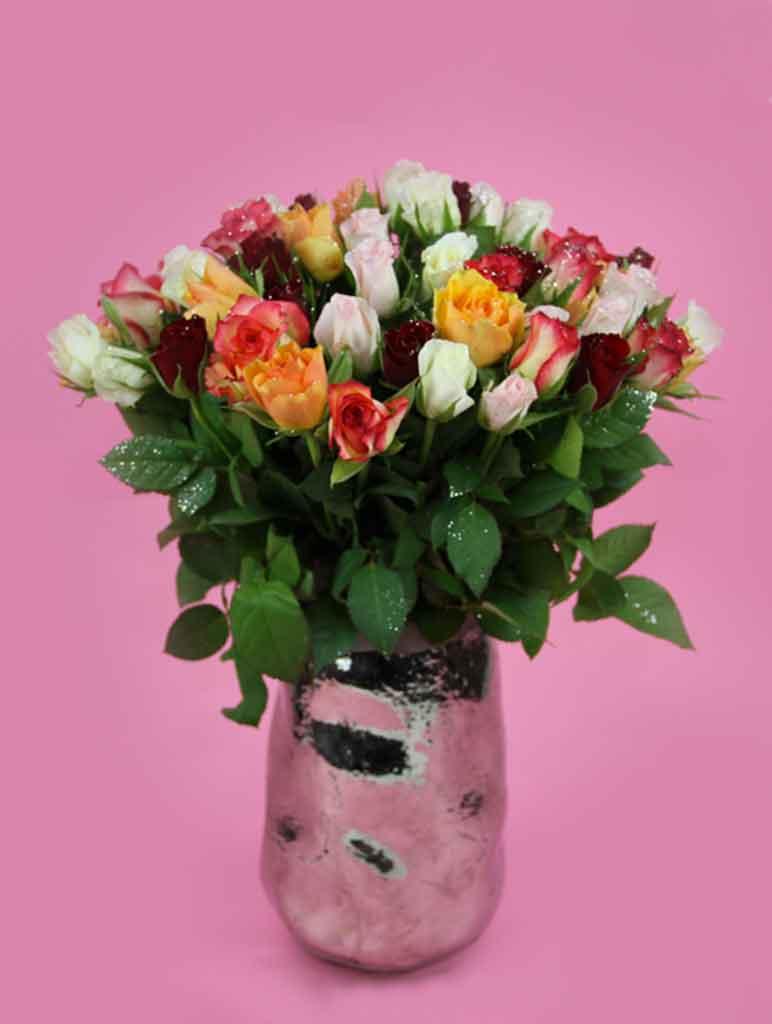 bouquet de roses multicolores de noel pailletées tutti frutti livraison bouquet de fleurs noel