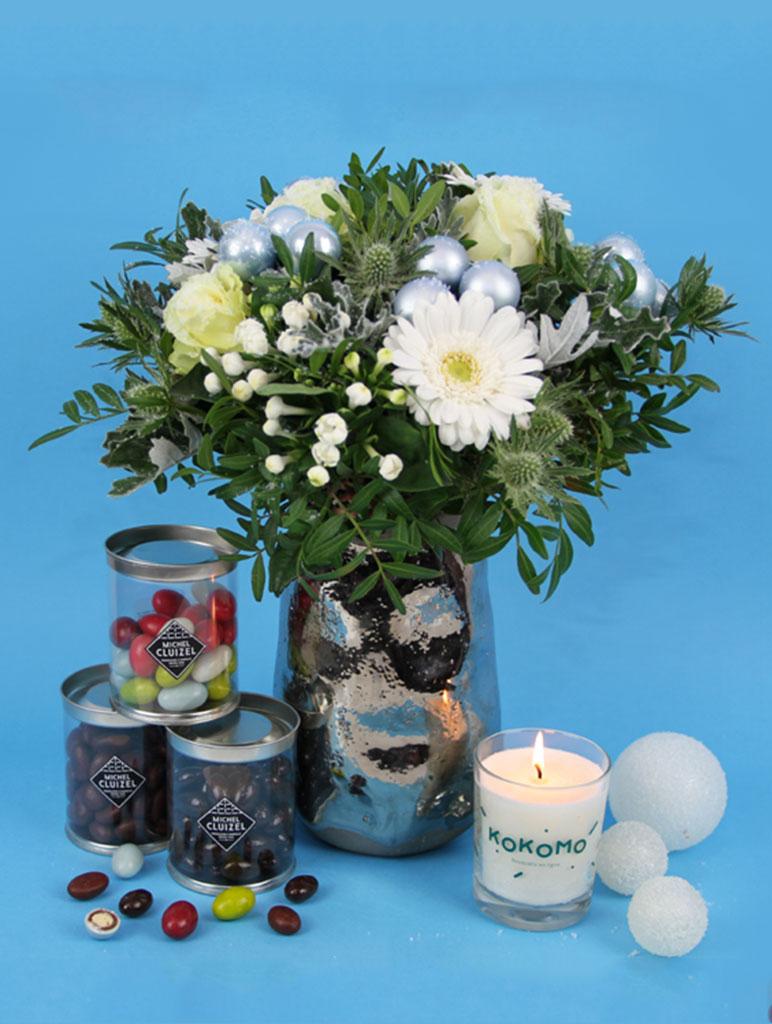 bouquets de fleurs neige noel livraison bouquet de fleurs noel et chocolats
