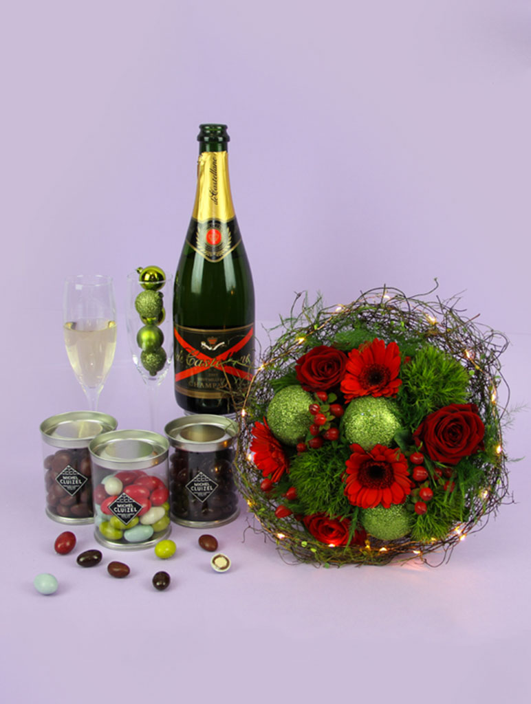 bouquet lumineux de noel champagne bougie et chocolat