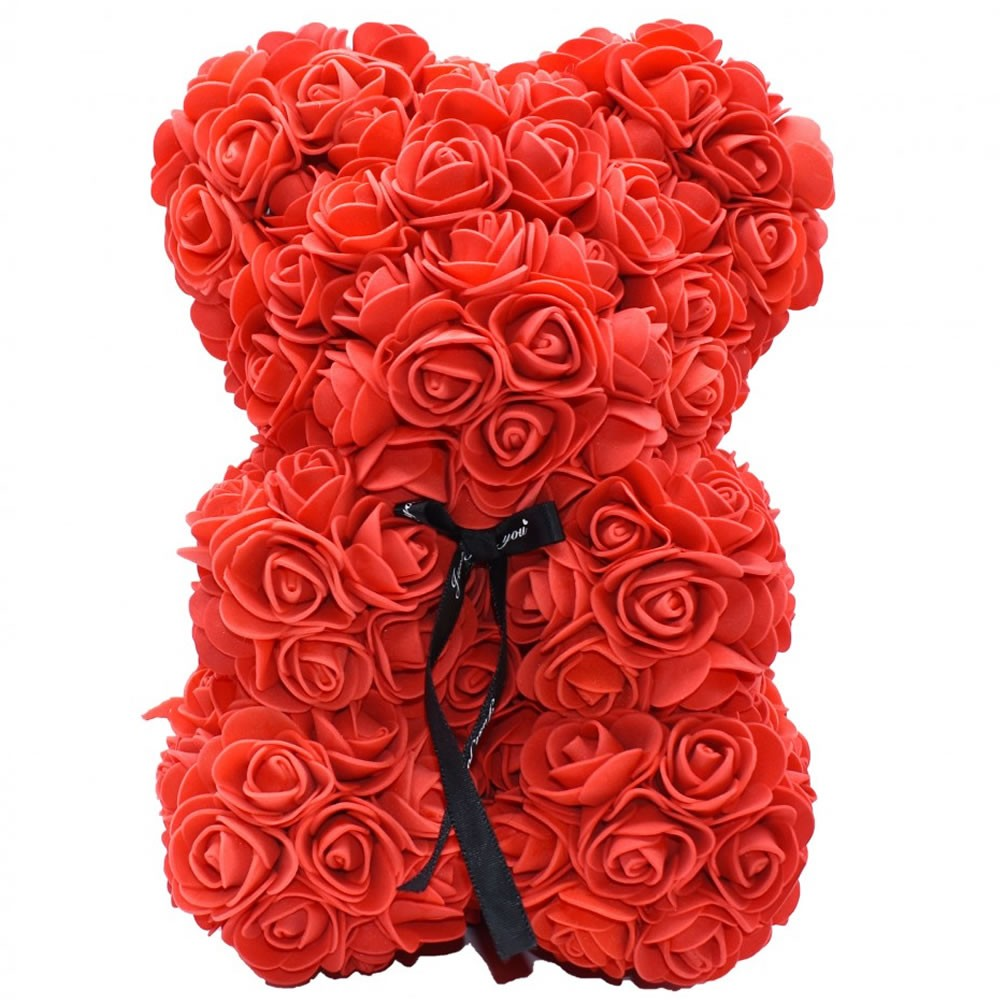 nounours en roses rouges